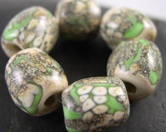Organic Stones - Elphaba - Lampwork beads (6), Libelula Designs, SRA