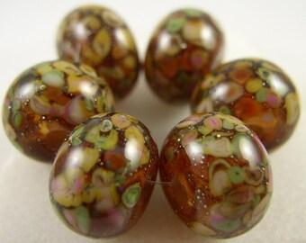 Organic Spring  - Lampwork Beads (6) - Libelula Designs, SRA