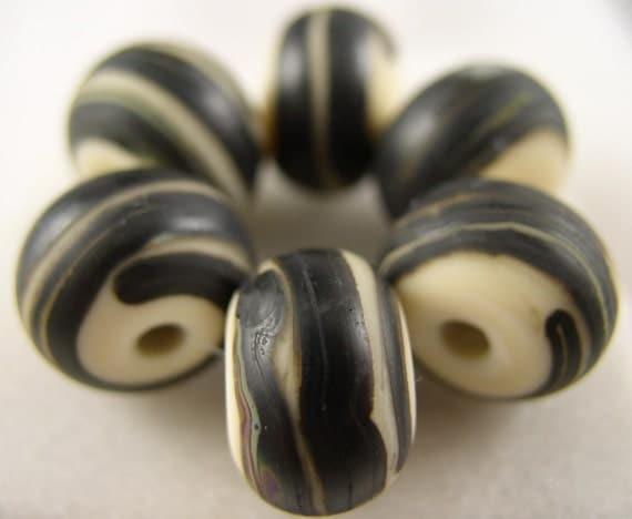 SALE - Organic Swirl - Lampwork Beads (6) - Libelula Designs, SRA