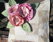 Patchwork Pillow Cover, Pink Ruffled Roses Pillow Cover