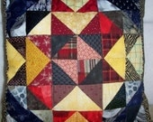 Red Gold and Black Patchwork Pillow