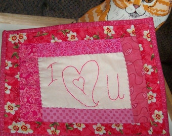 Pink I Heart U Quilted Mug Rug, Candle Mat