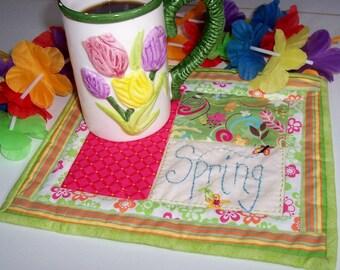 Spring Quilted Mug Rug