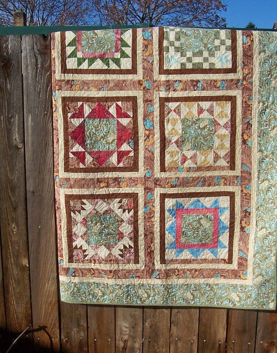 Paisley Stitches Patchwork Quilt, twin or double sized.