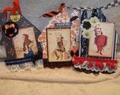 HALLOWEEN Set of 3 Handmade Halloween Haunted House Altered Tags Antikamnia calendar images