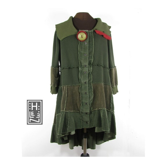 Colonel Moss's Restless Daughter - a jacket (reconstructed, olive green, plus size)