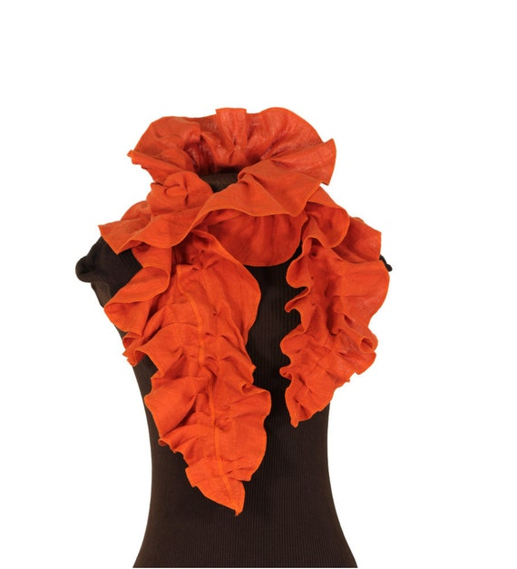 clementine orange linen ruffled scarf - the schminth