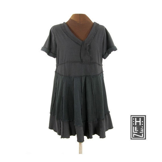 mindful empire babydoll tunic (reconstructed, cotton, and black)