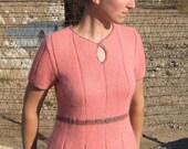 Knitting Pattern in pdf - Pretty In Pleats short-sleeved sweater with keyhole neckline