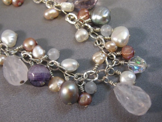 Sweetheart Gemstone and Pearl Bib Necklace on Sterling Silver Chain