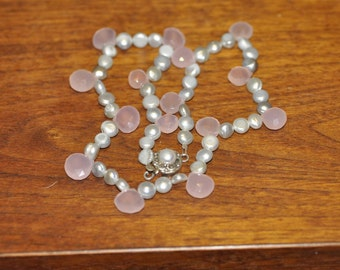 Pink Rose Quartz and Gray Pearl Necklace