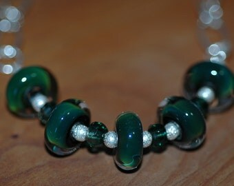 Forest Green Boro Glass and Sterling Silver Necklace