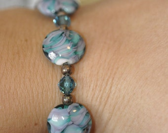 Turquoise and Pink Lampwork Bracelet