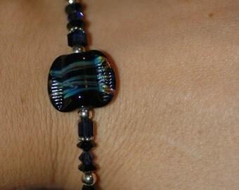 Lampwork and Swarovski Black and Blue Bracelet