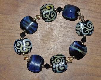 Denim and Blues Lampwork Glass Swarovski Crystal Bracelet