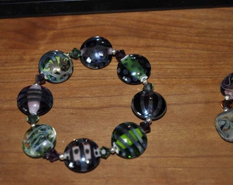 Shiny Earthy Lampwork Lentil Stretched Bracelet One
