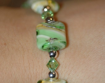 Bright Green Lampwork and Crystal Bracelet