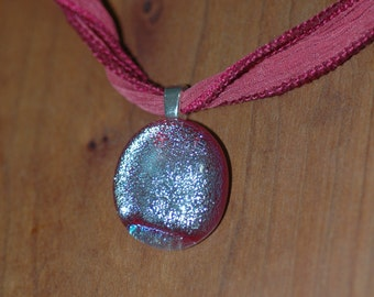 Sassy Bright Pink Sparkle Pendant on Silk Ribbon