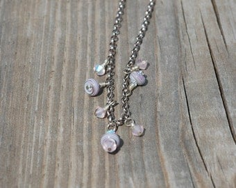 Tiny Lampwork Beaded dangles on sterling chain
