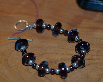 Raspberry Boro Lampwork Bracelet