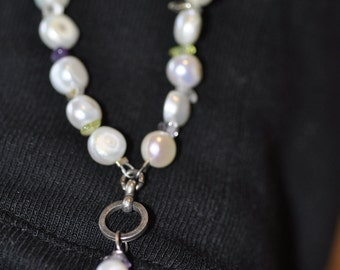 Pearl, Amethyst, Citrine and Peridot Necklace