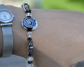 Black and White Lampwork Bracelet