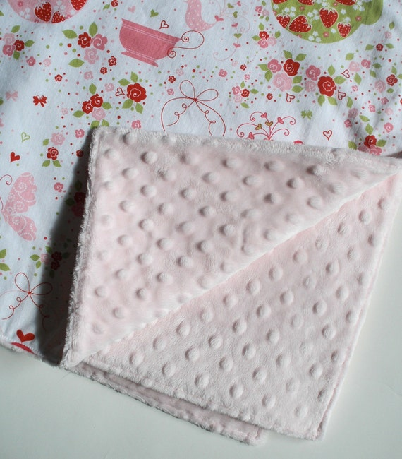 Baby Blanket in Strawberry Tea Party