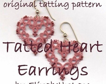 Original Tatting Pattern - Heart Earrings