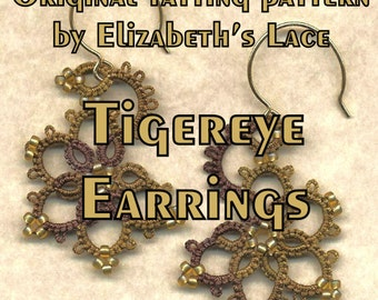 Elizabeth's Lace Original Tatting Pattern - Tigereye Earrings