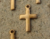 Small Vintage Brass Cross Charms. 5/8 Inch. Ten.