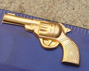 Two Vintage Brass Six Shooter Stampings. New Old Stock.