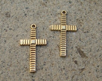 Vintage Gold Plated Over Brass Cross.  Two.