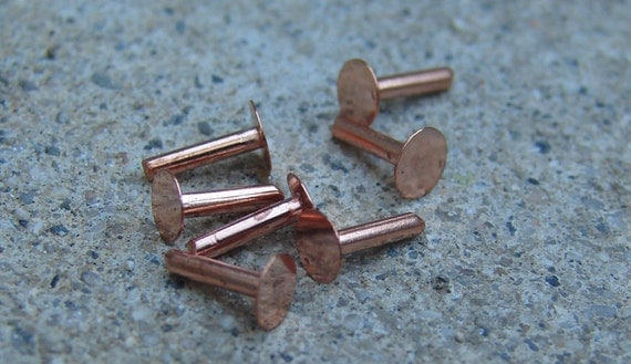 Copper Nail Head Rivets. 1/4 inch. Fifty.