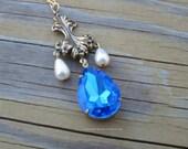 Sapphire blue Renaissance jewel pendant for Italian, Tudor, Elizabethan gown - Lucrezia