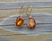 Topaz yellow jeweled earrings for renaissance costume or bridesmaid - Olivia