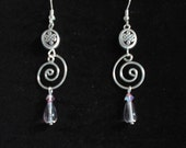 Celtic knot swirl earrings with pink drops and crystals