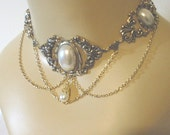 Faux White Pearl Necklace Renaissance Victorian inspired choker for dress or corset - Rose