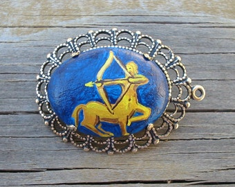 SCA East Kingdom Sagittarius Award Hand Painted Cabochon Pin