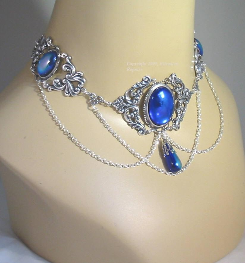 Elven fairy wedding costume choker necklace for gown or dress for Costume jewelry for evening gowns