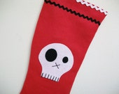 Elf Boot Christmas Stocking with Skull Patch