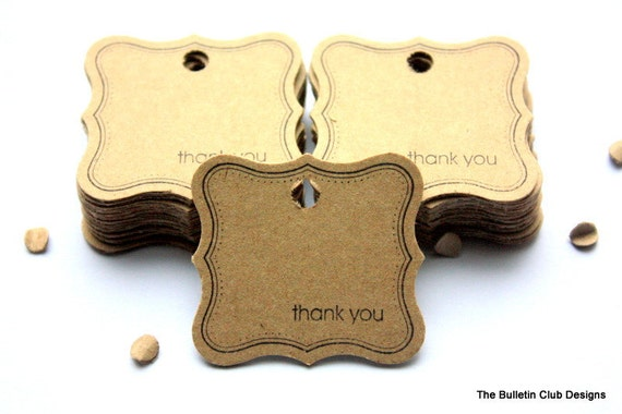 "Curly Label Tags, vintage like gift tags, with border and ""Thank You"" sentiment, upcycled, eco-living, eco-friendly"