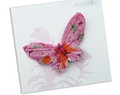 Fabric butterfly brooch- MID PINK