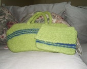 Knitted, felted handbag and crocheted wallet to match