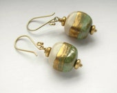 Ancient Antiquities Authentic Handmade Sage Green and Gold Kazuri Beads from Kenya