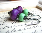 Sugilite and Howlite Spring Palette of Lavender and Green Tea Sterling Silver Handmade Earrings