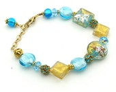 Turquoise and Gold Foil   Venetian Murano Glass and Swarovski Crystal Bracelet