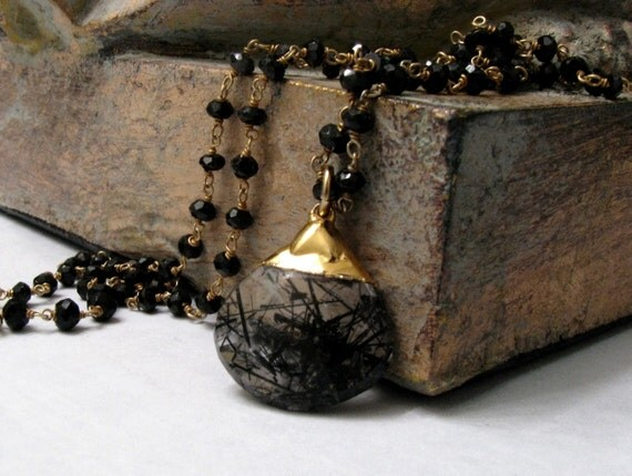 Ebony Rutilated Quartz Necklace