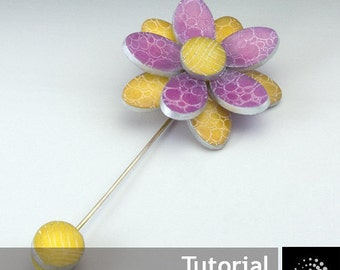 "Polymer Clay PDF Tutorial ""Etched Flower Brooch"""