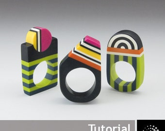 "Polymer Clay PDF Tutorial ""Geometrical Rings"""