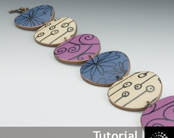 "Polymer Clay PDF Tutorial ""Tile Bracelet with Transfers"""